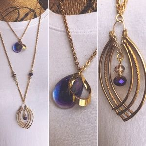 Jewelry - Purple Nebula Necklace w/Matching Earrings